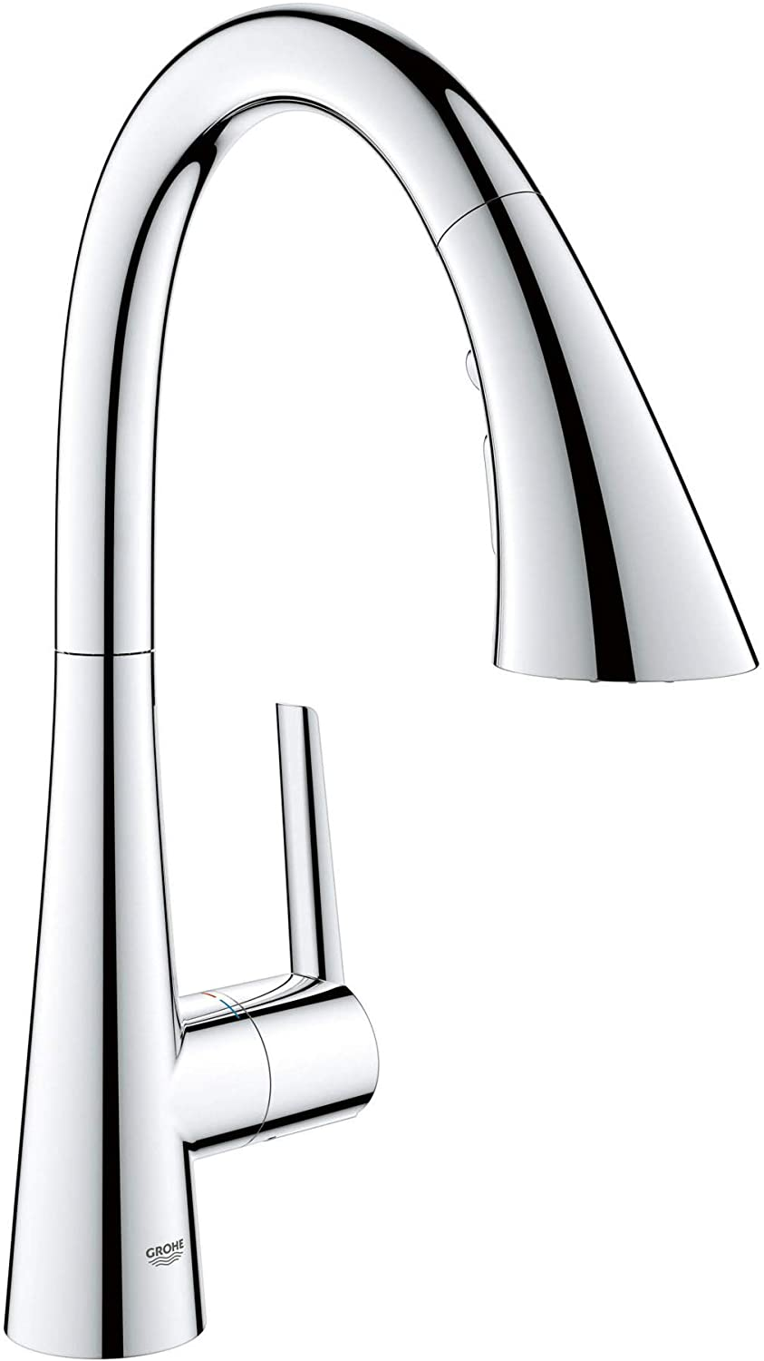 GROHE 30368002 Ladylux L2 Single-Handle Pull Down Triple Spray Prep Sink Kitchen Faucet in Starlight Chrome