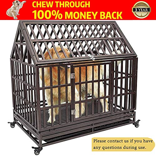HAIGE PET Your Pet Nanny Heavy Duty Roof Dog Cage Kennel Crate Playpen Metal Strong for Medium and Large Dogs Outdoor Waterproof with Lockable Wheels, Easy to Assemble, 38''