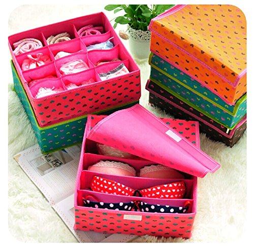 Luxbon 3pcs Per Lot Closet Cloths Bra Underwear Socks Storage Bins Box Container Cabinet Organizer Set-Pink