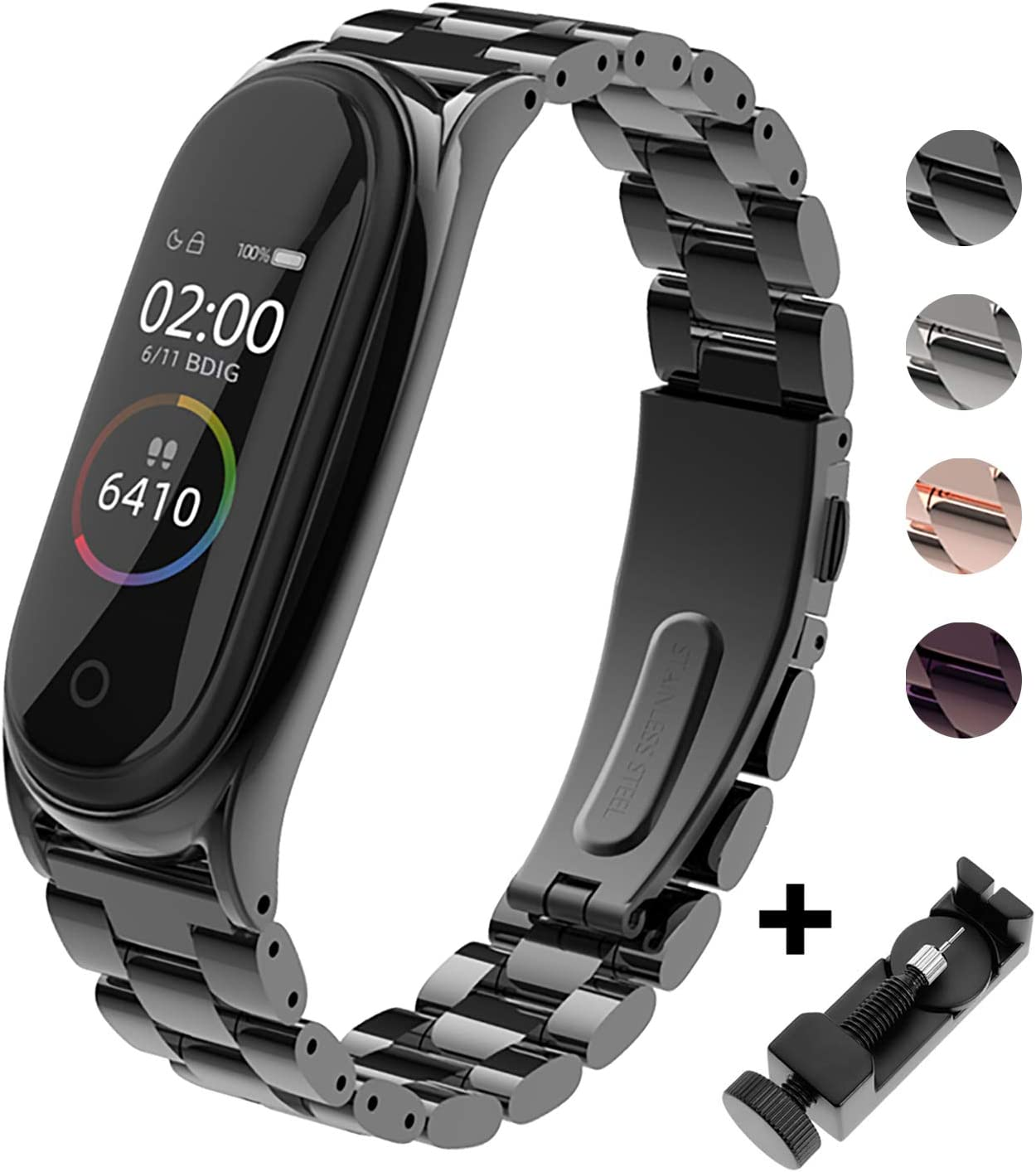 BDIG Correa Compatible Xiaomi Mi Band 4 Correas Metal,Pulsera de Acero Inoxidable Agradable para Mi Band 4 Correa (No Host)(Plus Negro)