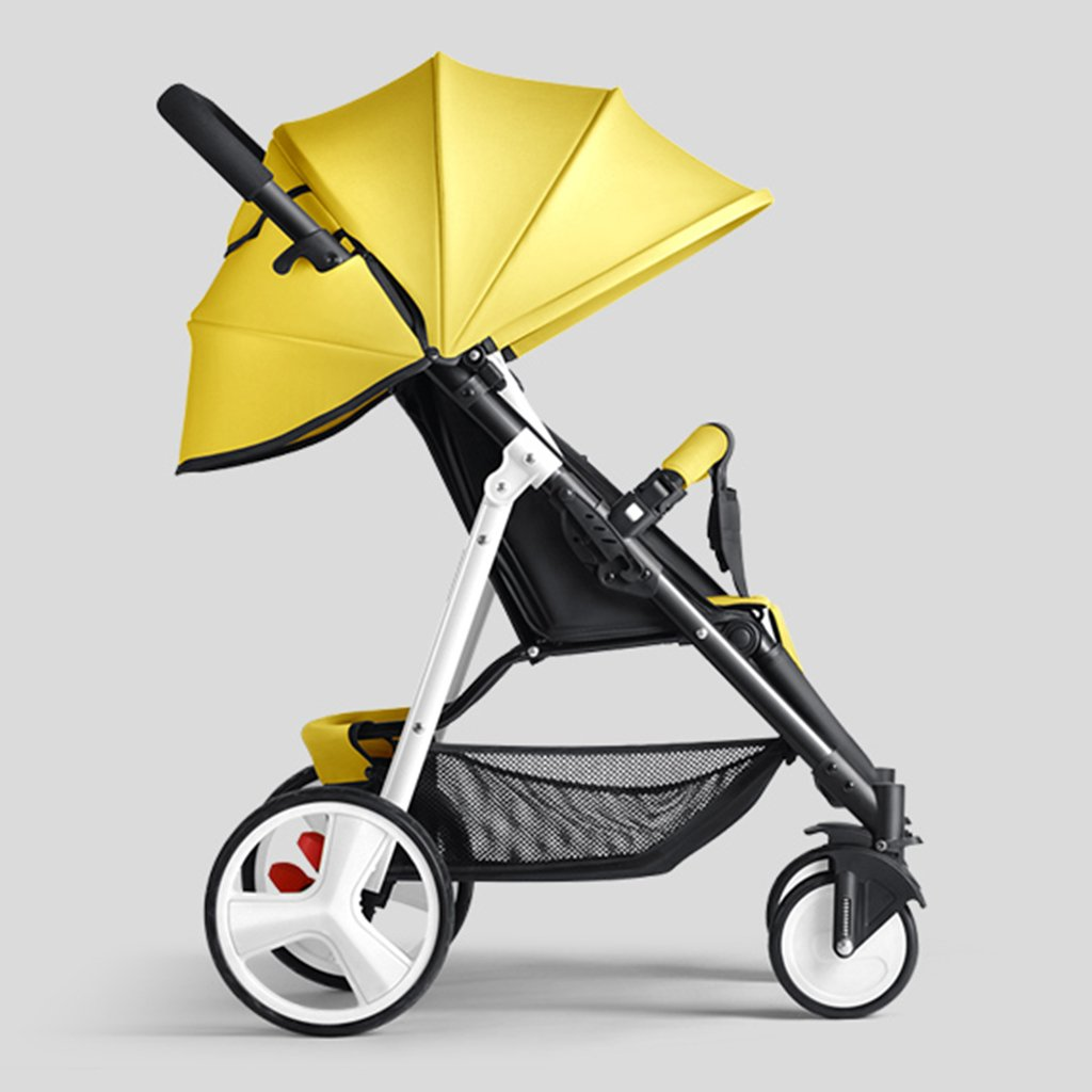 HAIZHEN マウンテンバイク ベビーカートは座ることができる/折りたたみ式の携帯用トロリー白いスチールフレーム調整サンシェード日除けアンチUVベビーキャリッジ 新生児 B07DL93X3B イエロー いえろ゜ イエロー いえろ゜