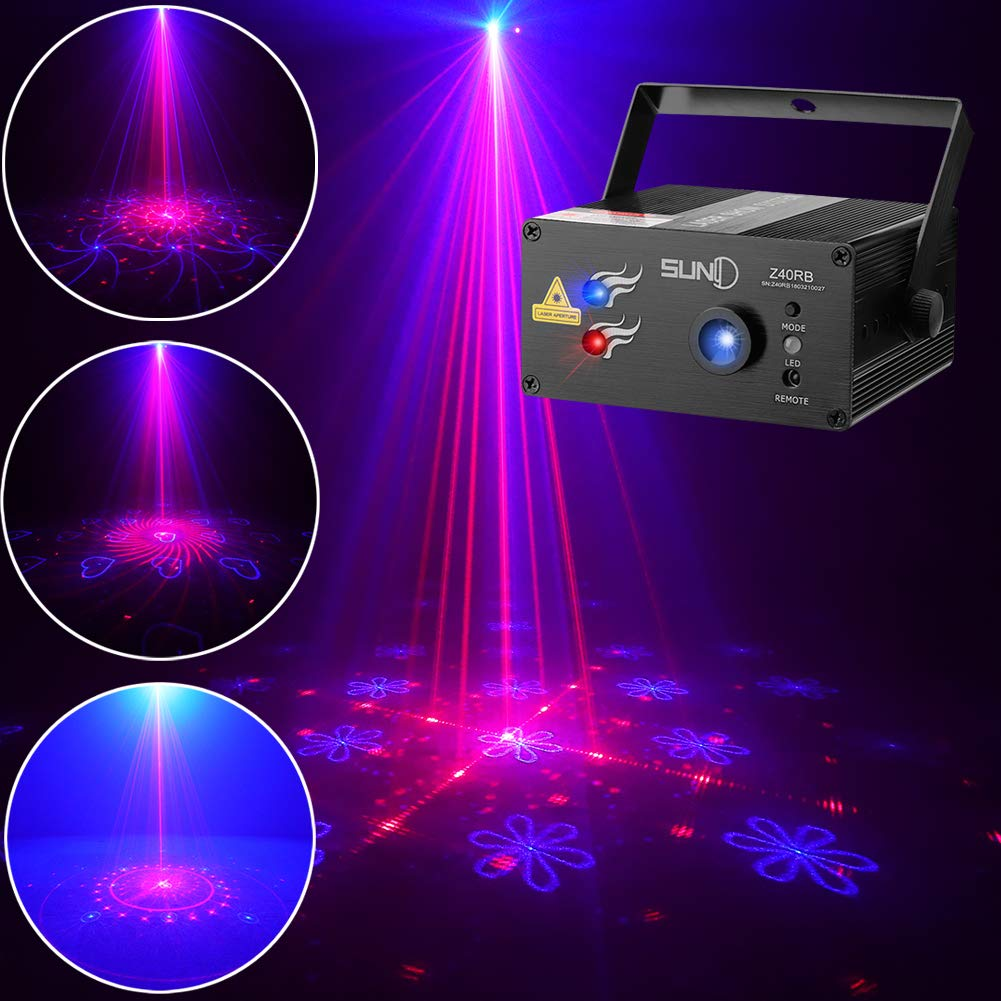 SUNY Laser Lighting 40 Gobos Effect Red Blue DJ Laser Light Blue LED Music Laser Projector Remote Control Sound Activated Stage Lighting Dance House Decoration Xmas Holiday Event Party Carnival Show by SUNY