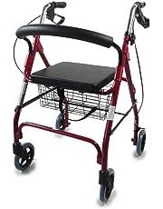 Mobiclinic Andador para Ancianos de 4 Ruedas | Rollator Deluxe Plegable | Regulable en Altura | Incluye Cesta | Precioso Color Burdeos | Peso máximo soportado 100 Kg | Modelo Alhambra