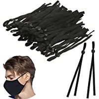 VEIREN 100 Pieces Elastic Bands with Adjustable Buckle High Stretch Elastic Band String Cord for DIY Crafts Earloop Lanyard Earmuff Rope Jewelry Clothes Garment Sewing Making Supplies, Black