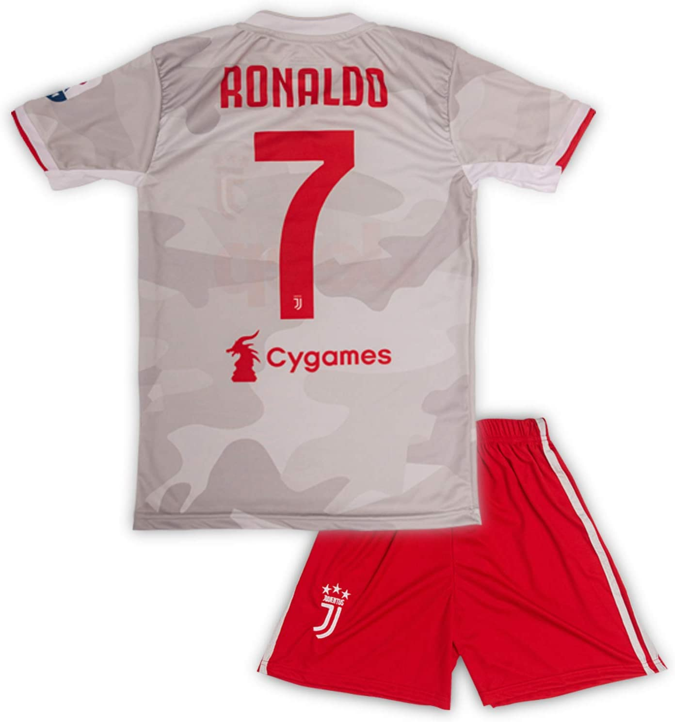 Juventus #7 Cristiano Ronaldo Trikot Set 2019-2020 Ausw/ärts Kinder Fu/ßball Trikot mit Shorts und Socken Kindergr/ö/ßen