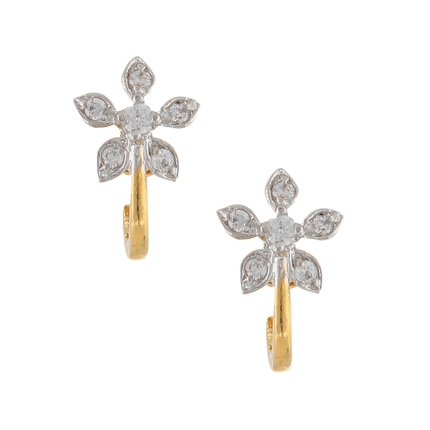 Efulgenz Stud Earrings 14 K Gold Plated Hypoallergenic Cubic Zirconia Floral Huggie Studs Pierced