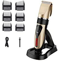 Cordless Hair Clippers, USB Rechargeable Hair Trimmer, IPX7 Waterproof Hair Cutting Kit with Battery Life Indicator LED…