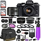 Canon EOS M5 Mirrorless Digital Camera (Black) Premium Accessory Bundle with Canon EF-M 15-45mm IS STM Lens (Graphite) + Canon Water Resistant Case + 64GB Memory + HD Filters + Auxiliary Lenses