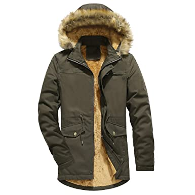 d4320eb4622 Amazon.com  Men Down Coat Winter Plus Size Camouflage Faux Fur Jacket  Thickening Coat Outwear Top  Clothing