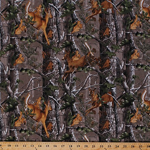 Flannel Realtree Deer Forest Woods Leaves Camouflage Fabric By the Yard ()