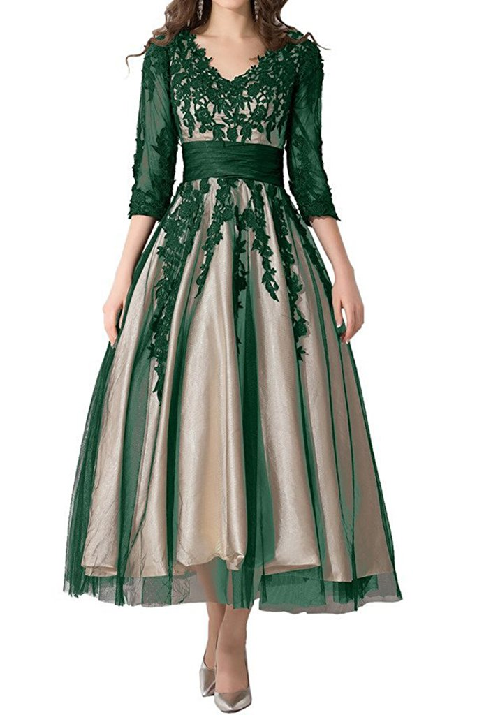 e085265d157 ... Tea-Length Mother of Bride Dresses Prom Gowns US14 Dark Green and  Champagne.   