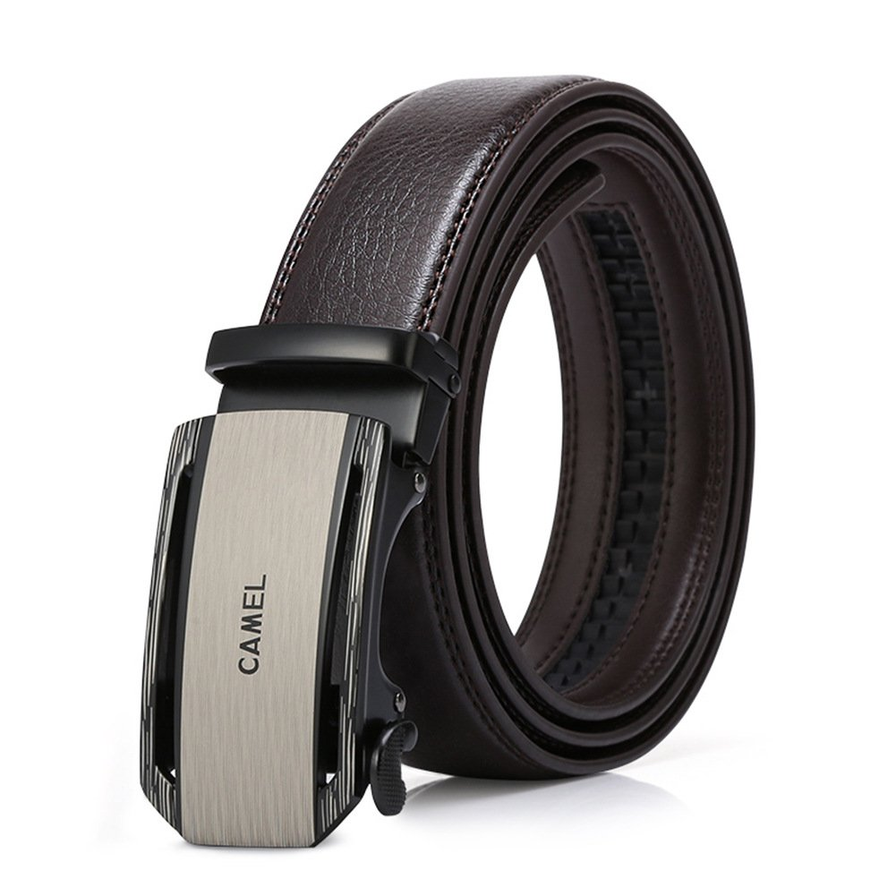 CAMEL CROWN Men's Belt Genuine Leather Ratchet Dress Belt for Men with Automatic Sliding Buckle and Gift Box DF193408