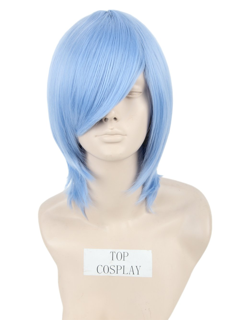 Topcosplay Short Straight Anime Cosplay Wigs Natural Halloween Costume Party Daily Hair Light Blue by Topcosplay (Image #5)