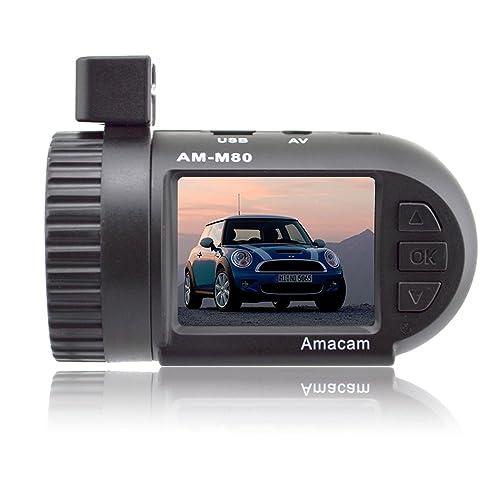 Sur caméra Dash Amacam AM-M80 Miniature HD Dash Cam. Toujours en garde La réponse parfaite pour votre tranquillité d'esprit. Très facile à installer Plug and Play Car Video Recorder. Prend en charge jusqu'à 32 Go de cartes mémoire.