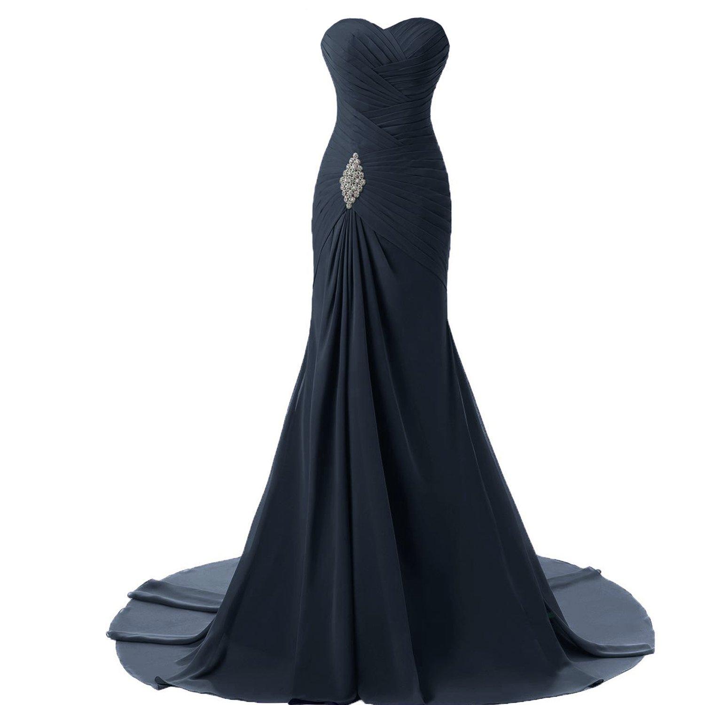 Criss Cross Chiffon Long Mermaid Prom Dress Evening Gowns Plus Size Dark Navy US 20W by Lemai