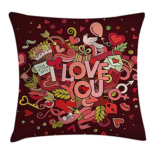 HATS NEW Romantic Throw Pillow Cushion Cover, Retro Funky I Love You Quote Hearts Arrows Baloons Birhday Valentine's, Decorative Square Accent Pillow Case, 18 X 18 Inches, Coral Burgundy Yellow