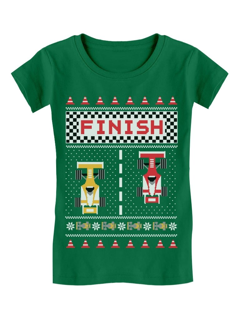 Children's Xmas Race Car Ugly Christmas Toddler/Kids Girls' Fitted T-Shirt
