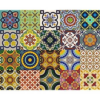 This Item Backsplash Tile Stickers 24 Pc Set Traditional Talavera Tiles Stickers Bathroom Kitchen Tile Decals Easy To Apply Just Peel And Stick Home Decor