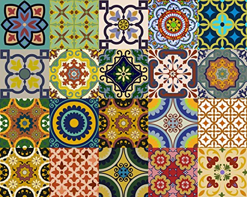 Backsplash Tile Stickers 24 PC Set Traditional Talavera Tiles Stickers Bathroom & Kitchen Tile Decals Easy to Apply Just Peel and Stick Home Decor 4x4 Inch (Backslash Peel and Stick (Ceramic Tile Backsplash Design)