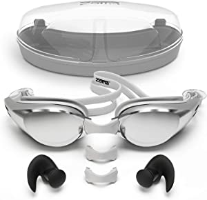 Zoma Swimming Goggles with Anti Fog Technology - 3 Piece Adjustable Nose Bridge for Perfect Comfortable Fit for Adults and Kids - Ergonomic Silicone Earplugs Included