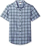 Columbia Men's Under Exposure Yarn Dye Short Sleeve Shirt, Carbon Plaid, XX-Large