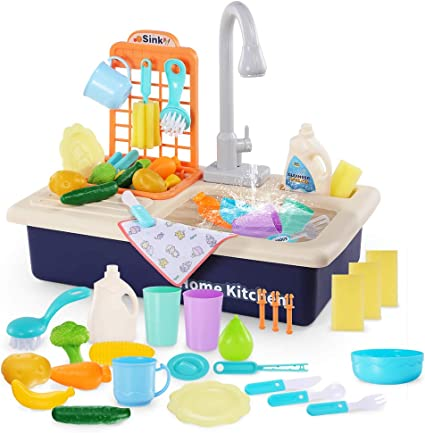 Gobidex Color Changing Play Kitchen Sink Toys Upgraded Kids Kitchen Dishwasher Toys For Children With Running Water Auto Cycle Pretend Role Play Kitchen Sink Toys For Boys Girls Kitchen Playsets