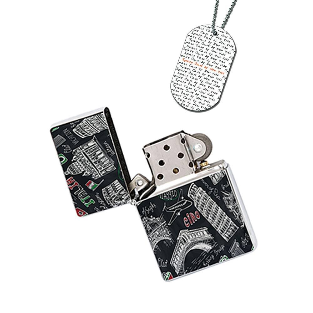 New Vibe Silver Flip Top Lighter - Ciao Italian Italy