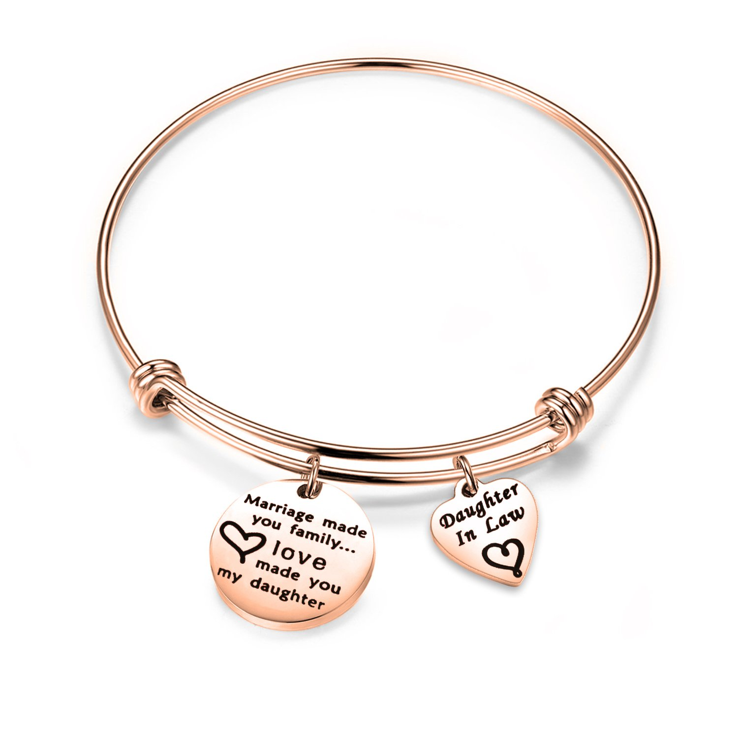 Zuo Bao Daughter in Law Gift Marriage Made You Family Love Made You My Daughter Bracelet Step Daughter Jewelry (Rose Gold)