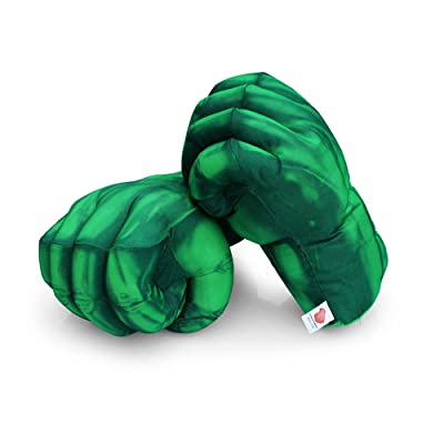 The Hulk Smash Hands Fists Big Soft Plush Gloves Pair Costume Green: Toys & Games