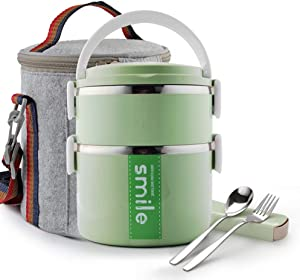 Themral Lunch Box, Arderlive Stackable Insulated Stainless Steel Lunch Container With Portable Lunch Bag, Large Capacity with microwarable container & spoon. (Green)