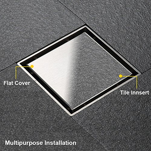 Artbath 5.9 Inch Square Bathroom Floor Drain with Removable Strainer Stainless Steel Tile Insert Drain, Brushed Finish (Drain Tile Floor)