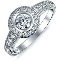 1CT Cubic Zirconia Circle Round Solitaire Pave AAA CZ Bezel Halo Promise Engagement Ring for Women 925 Sterling Silver