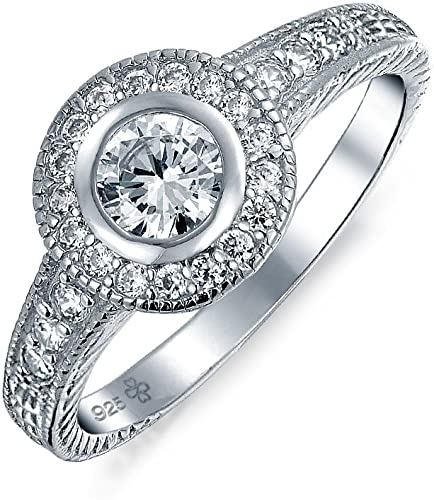 Sterling Silver Cubic Zirconia Round Solitaire Promise Womens Engagement Ring