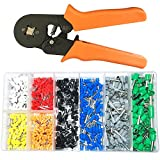 800 PCS Insulated Wire Ferrules + 0.25-6mm² Self-adjustable Ratchet Crimp Tool, Ferrule Crimper Kit for 22-10AWG, Wire Terminal Connector