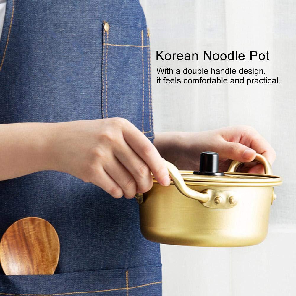 Fdit1 Pentola Coreana in Alluminio pentola Ramen pentola in Alluminio Giallo Coreano pentola istantanea Pot 12.5cm