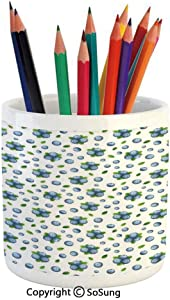 Printed Ceramic Pencil Pen Holder Case Box,Fresh Blueberries Ripe Juicy Fruits Summer Organics Food Painting Style Beautiful Stationery for Daily Use in Office,Classroom,Home,Gift Idea,Blue Green Whit
