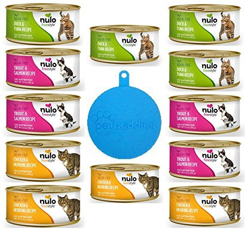 Cheap Nulo Grain Free Cat & Kitten Food Pate in 3 Flavors: (4) Trout & Salmon, (4) Chicken & Herring, and (4) Duck & Tuna (12 Cans Total, 5.5 Ounces Each) Plus Silicone Pet Food Cover – 13 Items Total