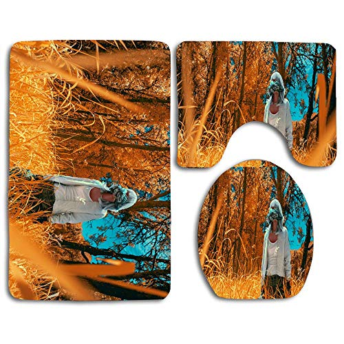 Bath Mat Sets Virtual Reality Infrared Photography Contour Rug U-Shaped Toilet Lid Cover,Non Slip,Machine Washable,3-Piece Rug Set Easier to Dry for Bathroom