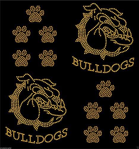 Gold 2x Bulldog face + 10 Dog paw prints iron on Rhinestone Transfer crystal hotfix t-shirt transfer