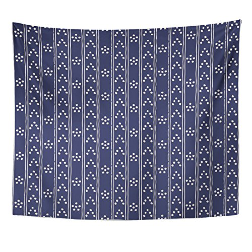 (TOMPOP Tapestry Abstract in Dark Blue and White Tribal Pattern Simple Home Decor Wall Hanging for Living Room Bedroom Dorm 50x60 Inches)