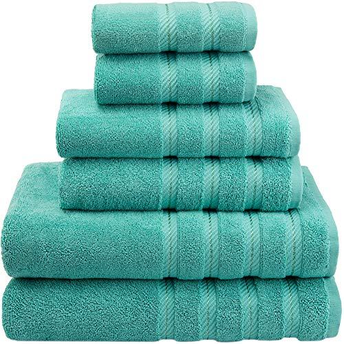 American Soft Linen Premium, Luxury Hotel & Spa Quality, 6 Piece Kitchen and Bathroom Turkish Towel Set, Cotton for Maximum Softness and Absorbency, [Worth $72.95] Turquoise Blue from American Soft Linen