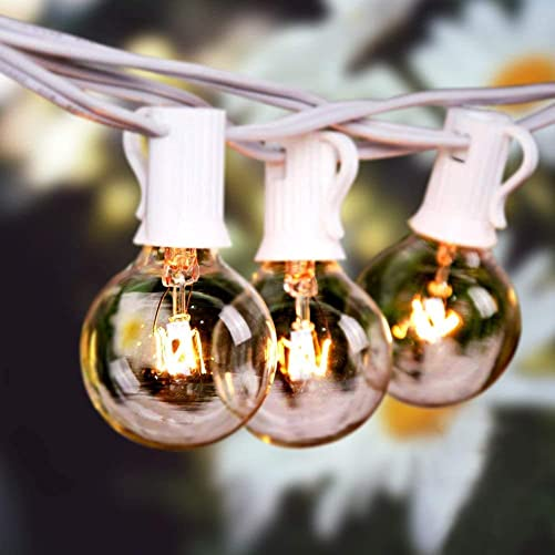 Bomcosy Outdoor String Lights, 50Ft G40 Globe String Lights with 25 2pcs Spare 5W Clear Bulbs, 2200K Warm White, Waterproof Connectable Commercial Backyard Patio Lights, 25pcs E12 Socket Base,White.