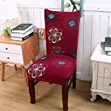 Retro Elastic Chair Cover for Home Dining Room Modern Wedding Bouquet /Hotel /Restaurant Stretch Slipcover Protector With Flower Pattern Cheap Red