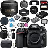 Nikon D7500 DSLR Camera (Body Only) 1581 AF-S DX 35mm f/1.8G Lens 2183 + 52mm 3 Piece Filter Kit + 256GB SDXC Card + Card Reader + Professional 160 LED Video Light Studio Series Bundle