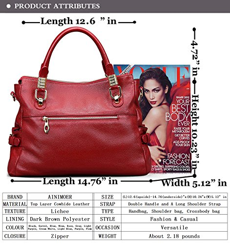 0094281ded AINIMOER Womens Genuine Leather Vintage Tote Shoulder Bag - Import It All