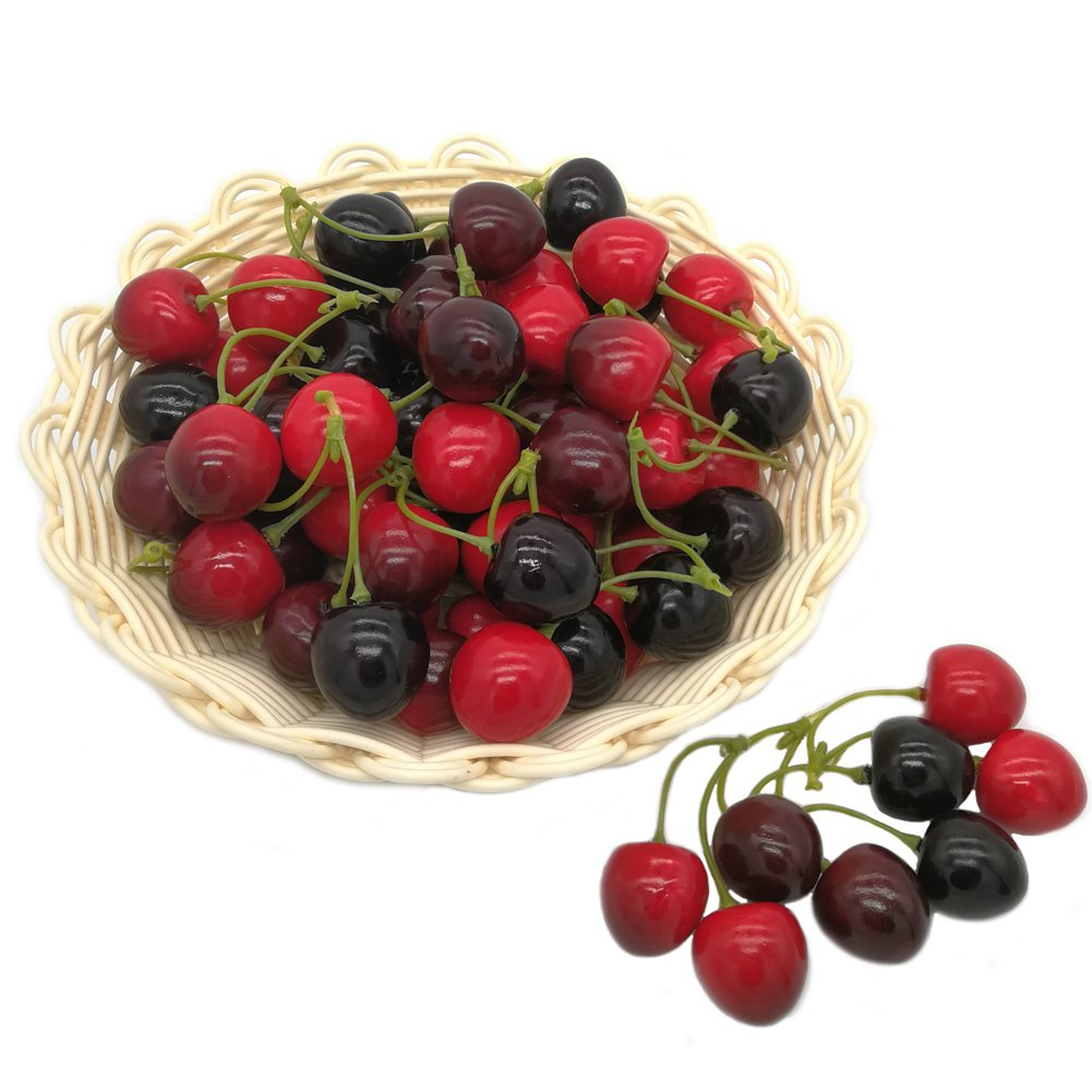 J-Rijzen Artificial Fruit Lifelike Simulation Small Mixed Color Fake Cherries for Model Home House Kitchen Party Desk Decorations (20PCS Double Cherry)