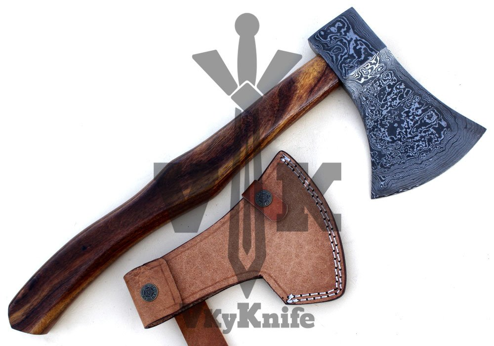 Handmade Damascus Steel Axe Hatchet Tomahawk Knife - 17 Inches Rose Wood Handle JNR9062 by JNR TRADERS (Image #4)