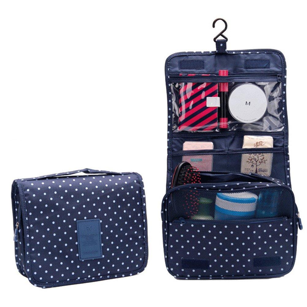 Urmiss Cute Dot Multi-functional Portable Waterproof Cosmetic Bag Folding Toiletry Bag Makeup Bag Travel Kit