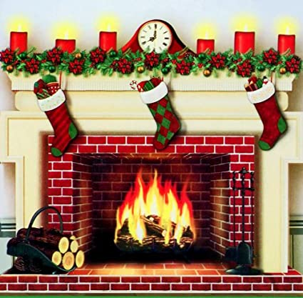 create a scene christmas fireplace 35 x 40 - Fireplace Christmas Decorations Amazon