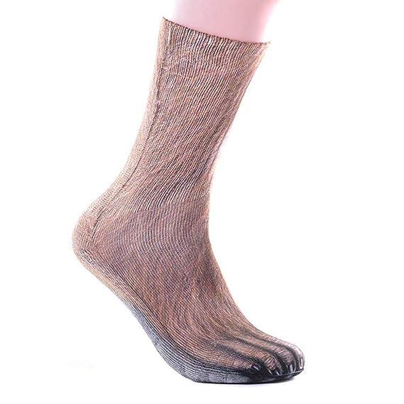 VJGOAL Unisex moda casual Transpirable divertido Animal Paw 3D Imprimir Calcetines Peinado de algodón tejido liso